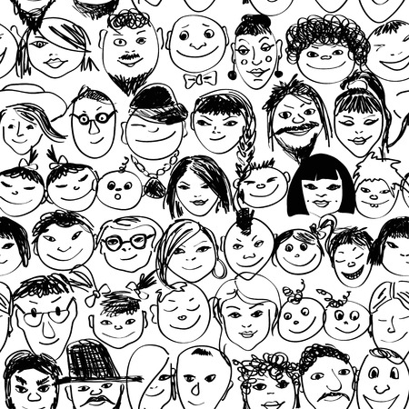 Seamless pattern with doodle portraits of smiling crowd people Vector
