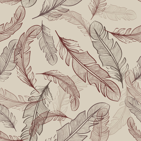 Seamless pattern of light bird feathers