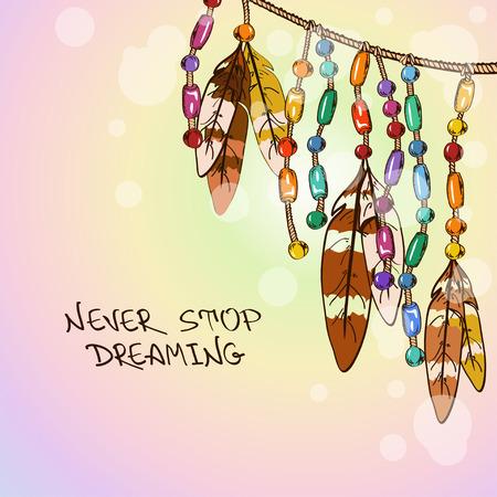 Illustratie met hangende vogel veren en kleurrijke sieraden