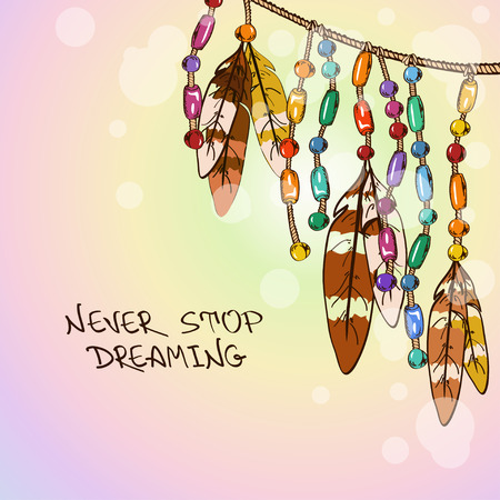 Illustration with hanging bird feathers and colorful bijouterie Imagens - 26459589
