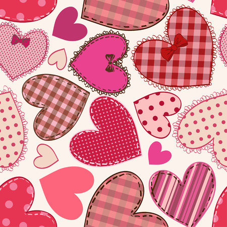 seam: Seamless pattern of fancy red pink heart patchworks