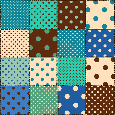 Colorful seamless pattern of polka dot patchworks Vector