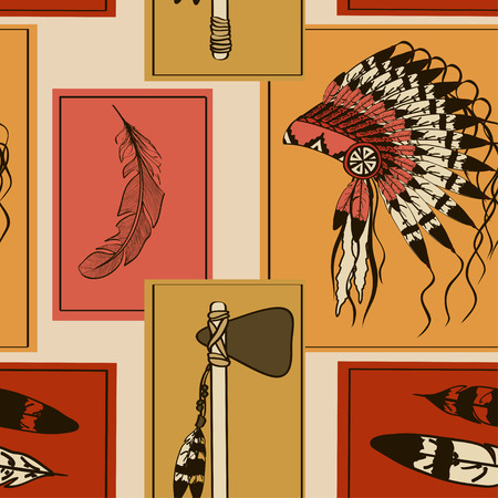 american tomahawk: Vintage seamless pattern of American Indians hat, feathers and tomahawk in rectangle frames