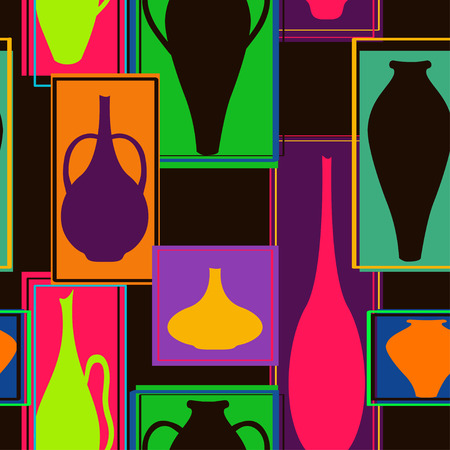 ewer: Abstract seamless pattern of colorful crockery in rectangle frames