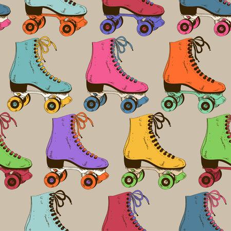 patinar: Patrón sin fisuras con colores retro patines de rodillos Vectores