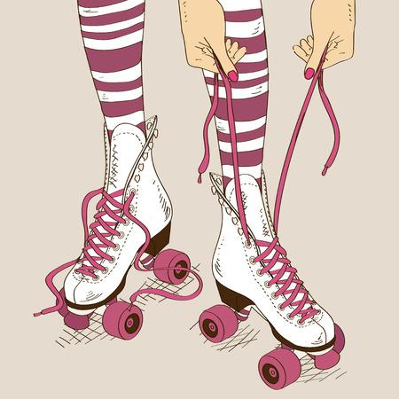 복고풍 롤러 스케이트와 스케이트 끈으로 묶는 과정에서 여성의 다리 그림 일러스트