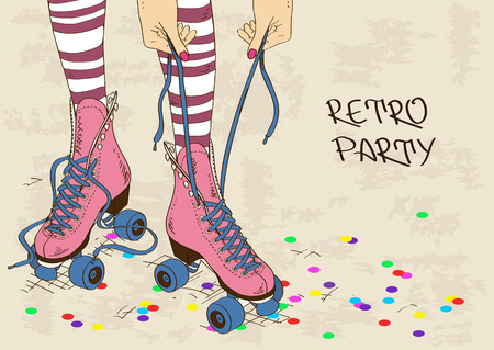 Illustration with female legs in retro roller skates on a grunge background