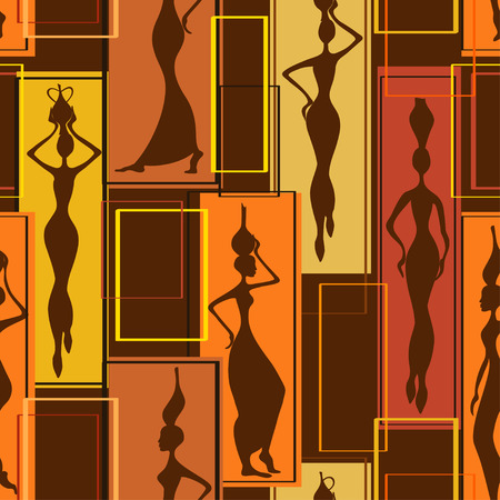Colorful abstract geometric seamless pattern of beautiful African women with vases Vector