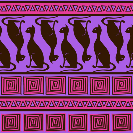 African ornament seamless pattern with elegance cats  Vector