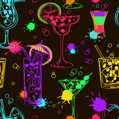 night bar: Bright colorful hand drawn seamless pattern of cocktails