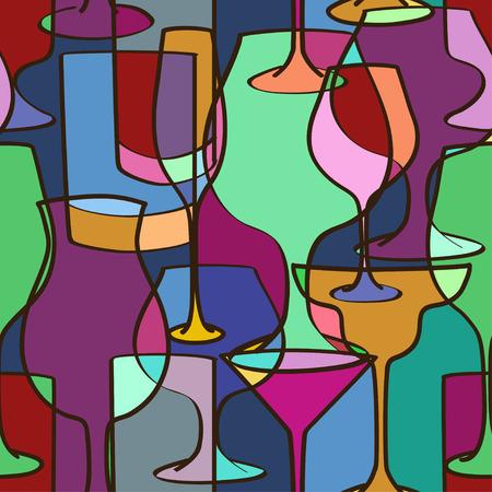 다채로운 안경의 기하학적 인 원활한 패턴 일러스트