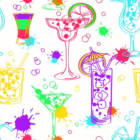 Bright colorful hand drawn seamless pattern of cocktails on a white background Vector