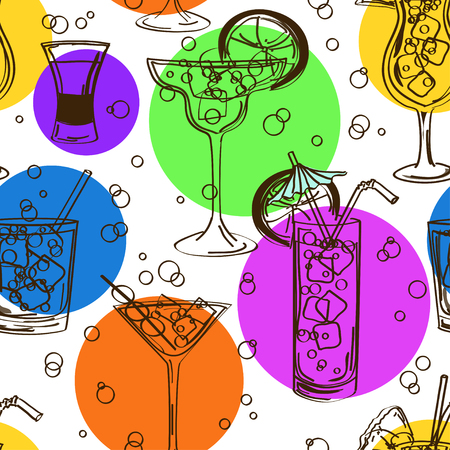 margarita drink: Bright colorful hand drawn seamless pattern of cocktails