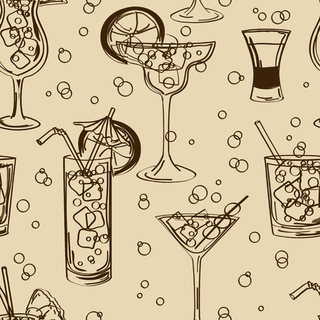 Retro hand drawn seamless pattern of cocktails  Vector