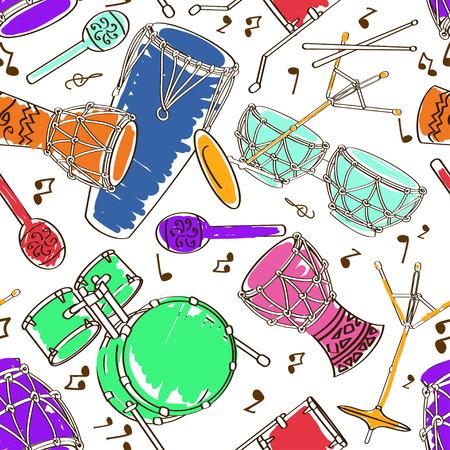 drum set: Hand drawn musical seamless pattern of colorful drum set