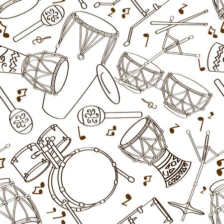 drum set: Hand drawn musical seamless pattern of drum set Illustration