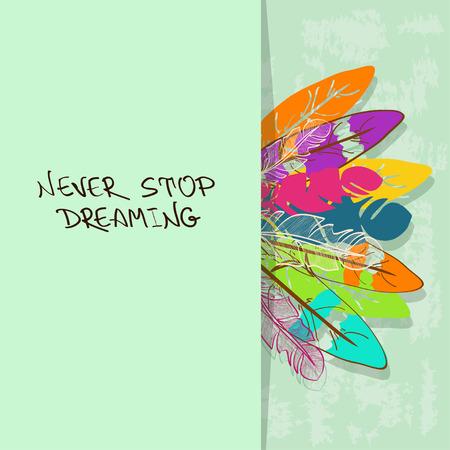 dreamcatcher: Retro tarjeta o invitaci�n con coloridas plumas de aves