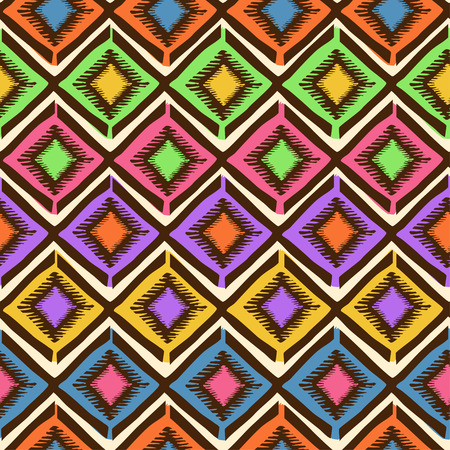 Bright colorful ethnic tribal geometric seamless pattern Vector