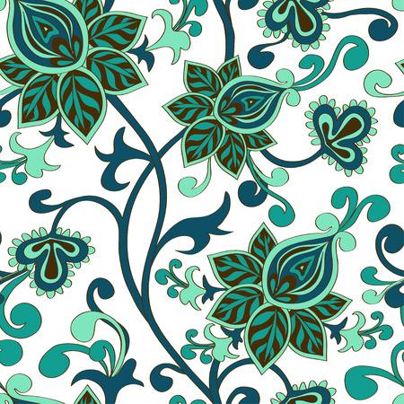 behang blauw: Naadloze patroon van Aziatische paisley floral ornament