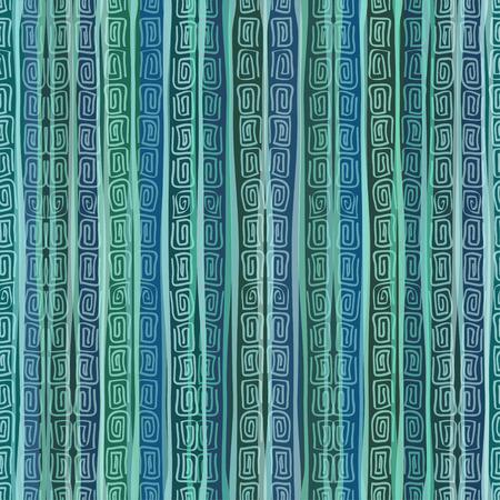 enfumaçado: Smoky verde azul listrado étnico padrão sem emenda Ilustração