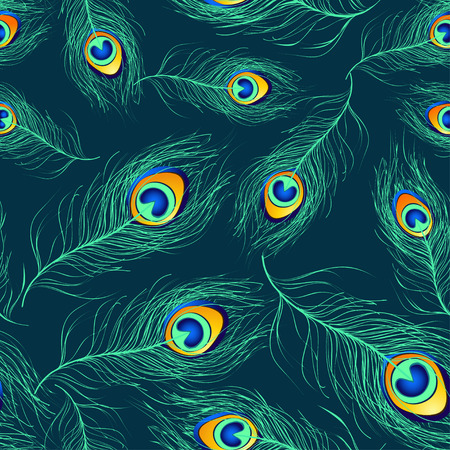 Seamless pattern of blue green peacock feathers