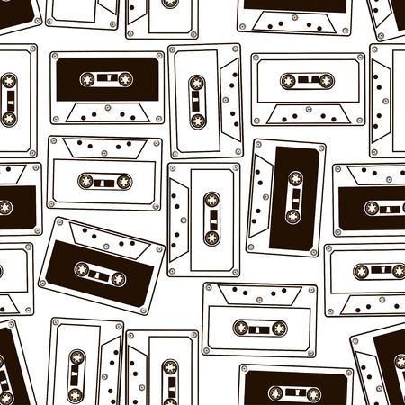 オーディオ カセット テープの抽象的な黒と白のシームレスなパターン  イラスト・ベクター素材
