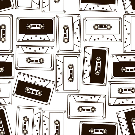 Abstract black and white seamless pattern of audio cassette tapes Ilustração