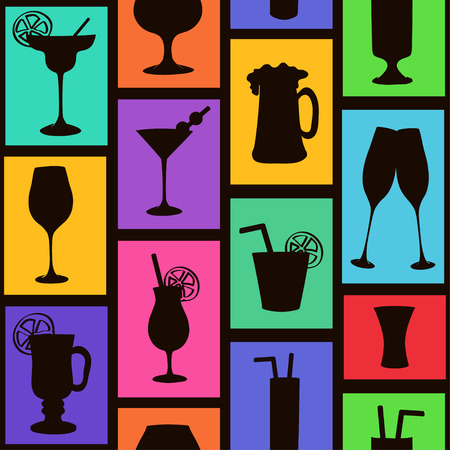 Colorful seamless pattern with silhouettes of cocktails and drinks Vector