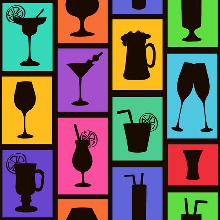 likeur: Kleurrijke naadloze patroon met silhouetten van cocktails en drankjes