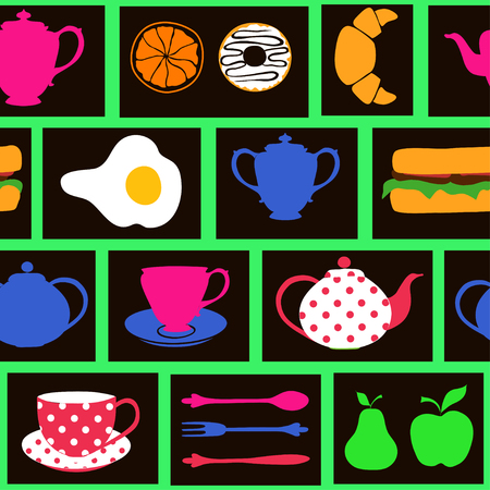 Colorful minimalistic seamless pattern of  breakfast food and drinks Vector