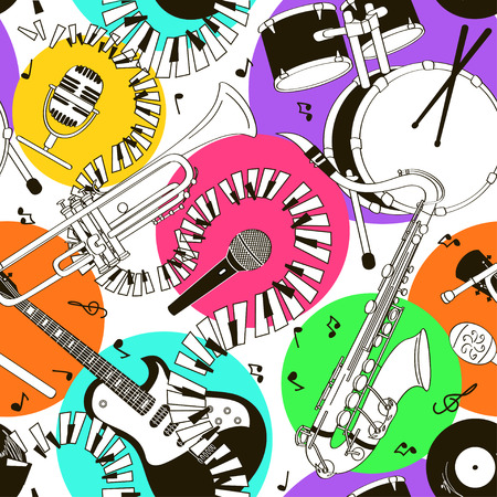 Abstract black and white hand drawn doodle seamless pattern of musical instruments on a colorful background Vector