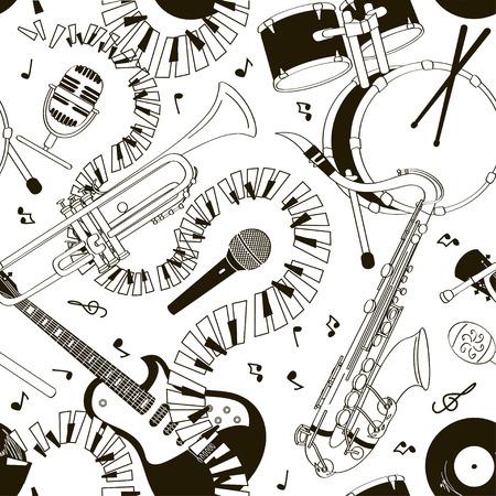 saxofón: Extracto negro y dibujados a mano blanca garabato sin patrón de instrumentos musicales Vectores