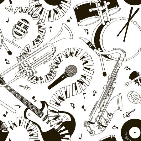 Abstract black and white hand drawn doodle seamless pattern of musical instruments