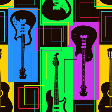 classical guitar: Abstract geometric colorful seamless pattern of guitars Illustration