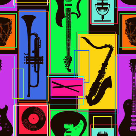 Bright colorful geometric seamless pattern of musical instruments Vector