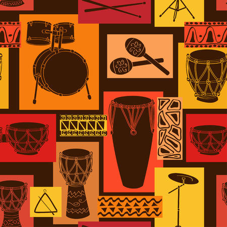 bongo drum: Abstract geometric musical seamless pattern of drum and percussion sets