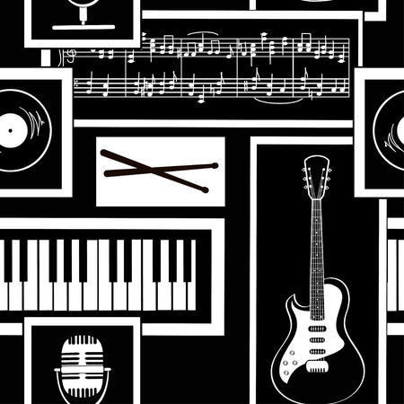 Black and white geometric seamless pattern of musical attributes Vector