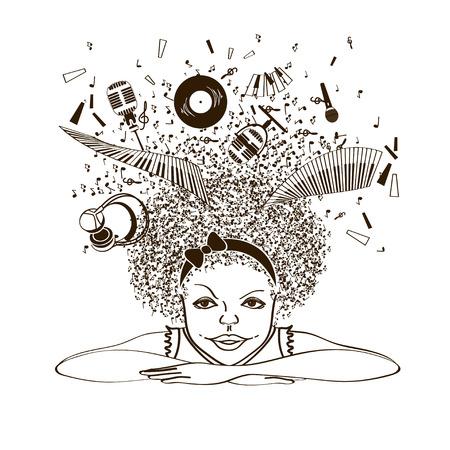 Illustratie met geïsoleerde portret van meisje dromen van een muzikant op een witte achtergrond te zijn