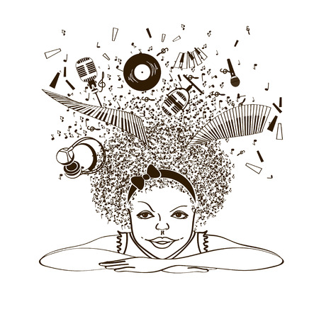 Illustration with isolated portrait of girl dreaming to be a musician on a white background