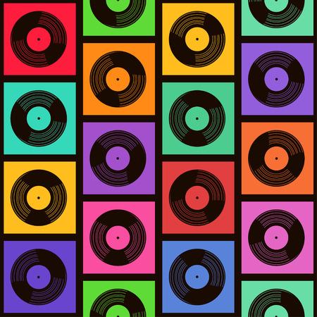 Nahtlose Muster der bunten Vinyl-Schallplatten