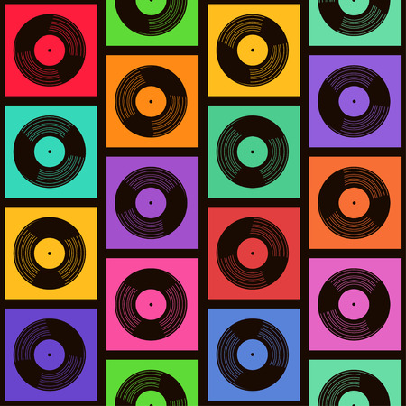 Seamless pattern of colorful vinyl records Vector