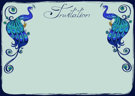 decoracion boda: Invitaci�n o tarjeta de felicitaci�n con pavos reales azules de fantas�a Vectores