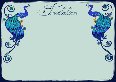 Invitation or greeting card with fancy blue peacocks