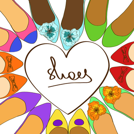 Illustration with fancy colorful ballet flats shoes Vector