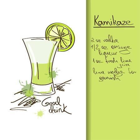 Illustration with hand drawn cartoon Kamikaze cocktail