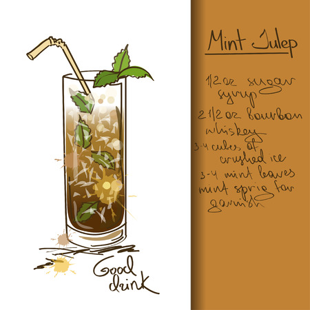 Illustration with hand drawn cartoon Mint Julep cocktail Vector