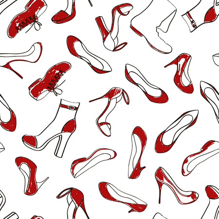 red shoes: Doodle red white seamless pattern of women footwear