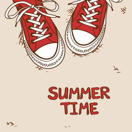 hand drawn cartoon: Dibujado a mano ilustraci�n de dibujos animados con un par de zapatillas rojas Vectores