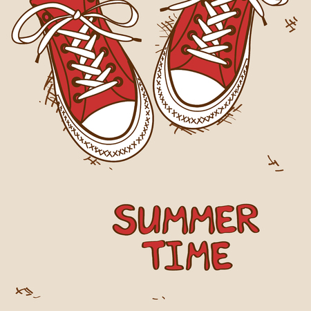 Hand drawn cartoon illustration with pair of red sneakers Vector