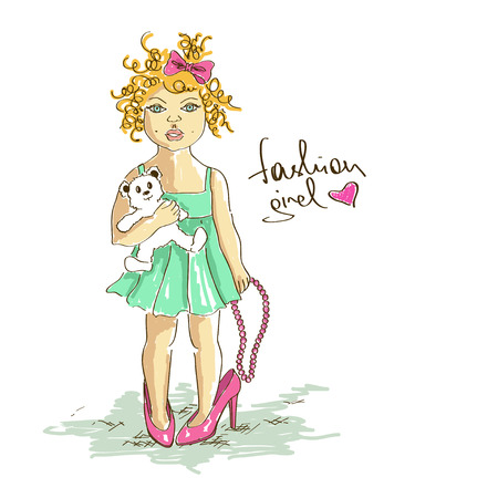 little girl dress: Illustration with little girl in mothers high heel shoes holding beads and bear toy Illustration